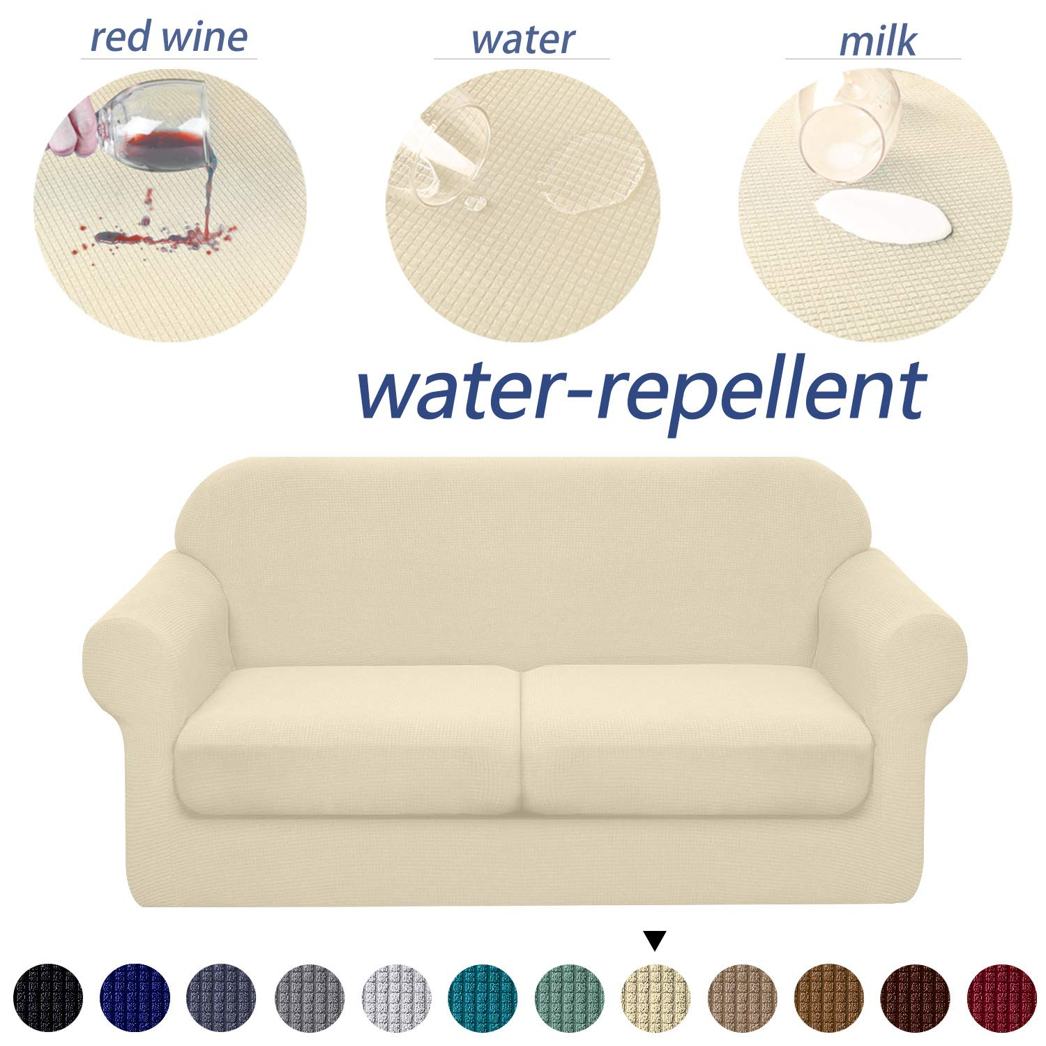 Granbest 3 Piece Premium Water-Repellent Couch Slipcover for 2 Cushion Couch Super Soft Loveseat Sofa Covers High Stretch Separate Cushion Couch Covers for Dogs Furniture Cover (Medium, Beige)