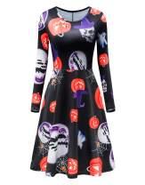 TWKIOUE Women's Halloween Dresses Casual A-line Long Sleeve Flared Party Midi Dress