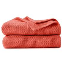 VEEYOO Throw Blanket for Couch - Lightweight Cozy Blankets and Throws 50 x 65 Inch, Knit Soft Red Throw Blankets for Sofa, Bed, Office, Travel, Office