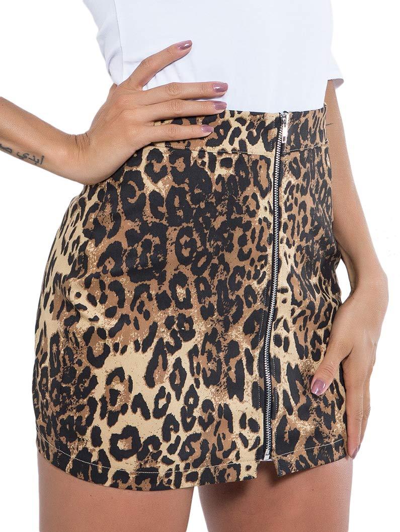 WDIRARA Women's Leopard Print Mid Waist Stretch Bodycon Zipper Front Mini Skirt