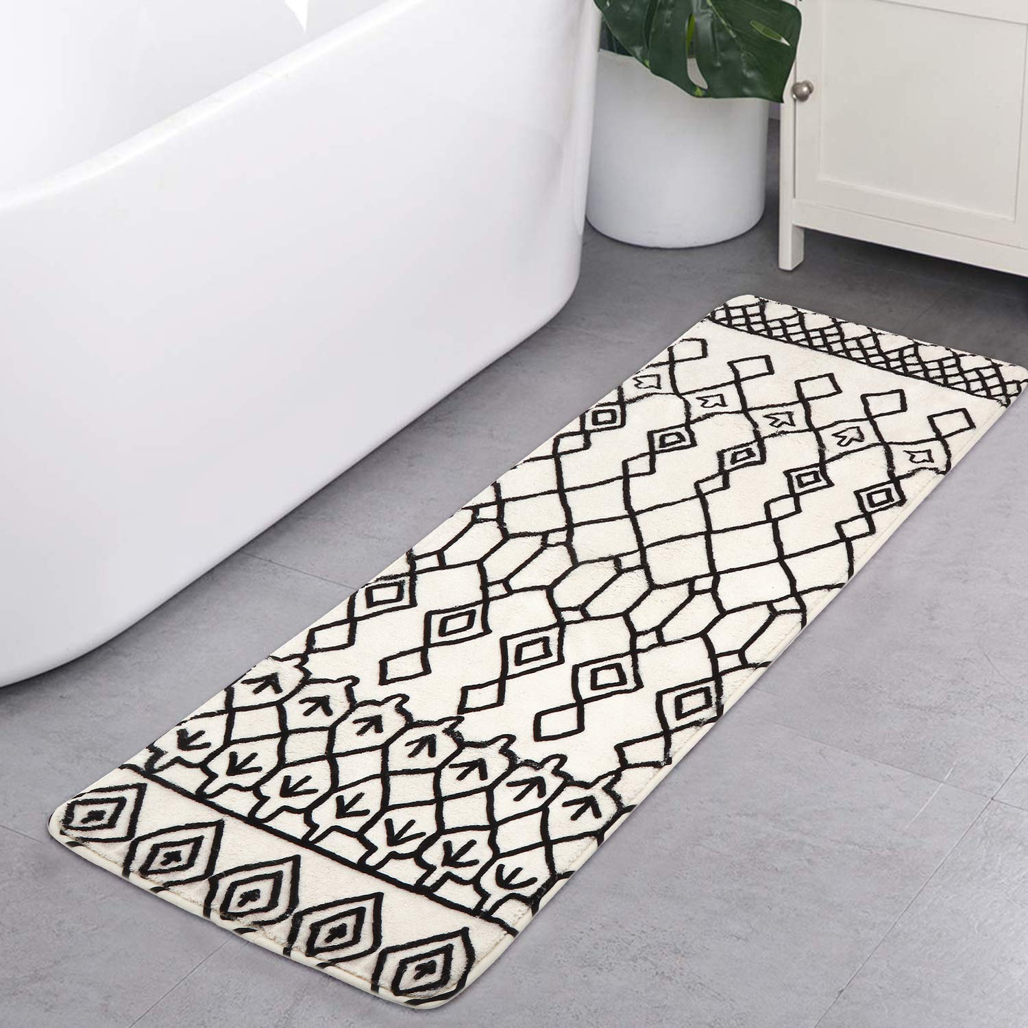 HAOCOO Bath Rug Runner 18x47 inch Soft Velvet BohoTribal Bathroom Rugs Non-Slip Geometric Bath Mat Door Carpet Luxury Microfiber Machine-Washable Diamond Floor Rugs for Tub Shower