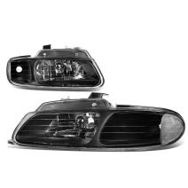 DNA Motoring HL-OH-014-BK-CL1 Pair of Headlight Assembly [96-99 Chrysler Town & Country/Dodge Caravan]