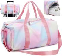 Weekender Duffel Sport Gym Bag Women Travel with Shoe Compartment Wet Pocket (Rainbow Pink)