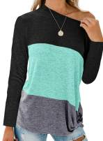 Aleumdr Women's One Shoulder Color Block Long Sleeve Twist Knot Casual T Shirt Tunic Tops