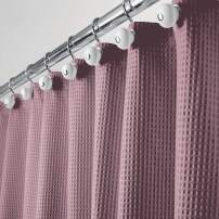 "mDesign Hotel Quality Polyester/Cotton Blend Machine Washable Fabric Shower Curtain with Waffle Weave and Rust-Resistant Metal Grommets for Bathroom Showers and Bathtubs - 72"" x 72"" - Plum Purple"