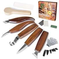 13pcs Wood Carving Tools Set,Hook Carving Knife, Detail Wood Knife, Whittling Knife, Oblique Knife, Trimming Knife for Spoon Bowl Cup Pumpkin Woodwork, Chip Carving Knife Kit for Beginners Woodworking