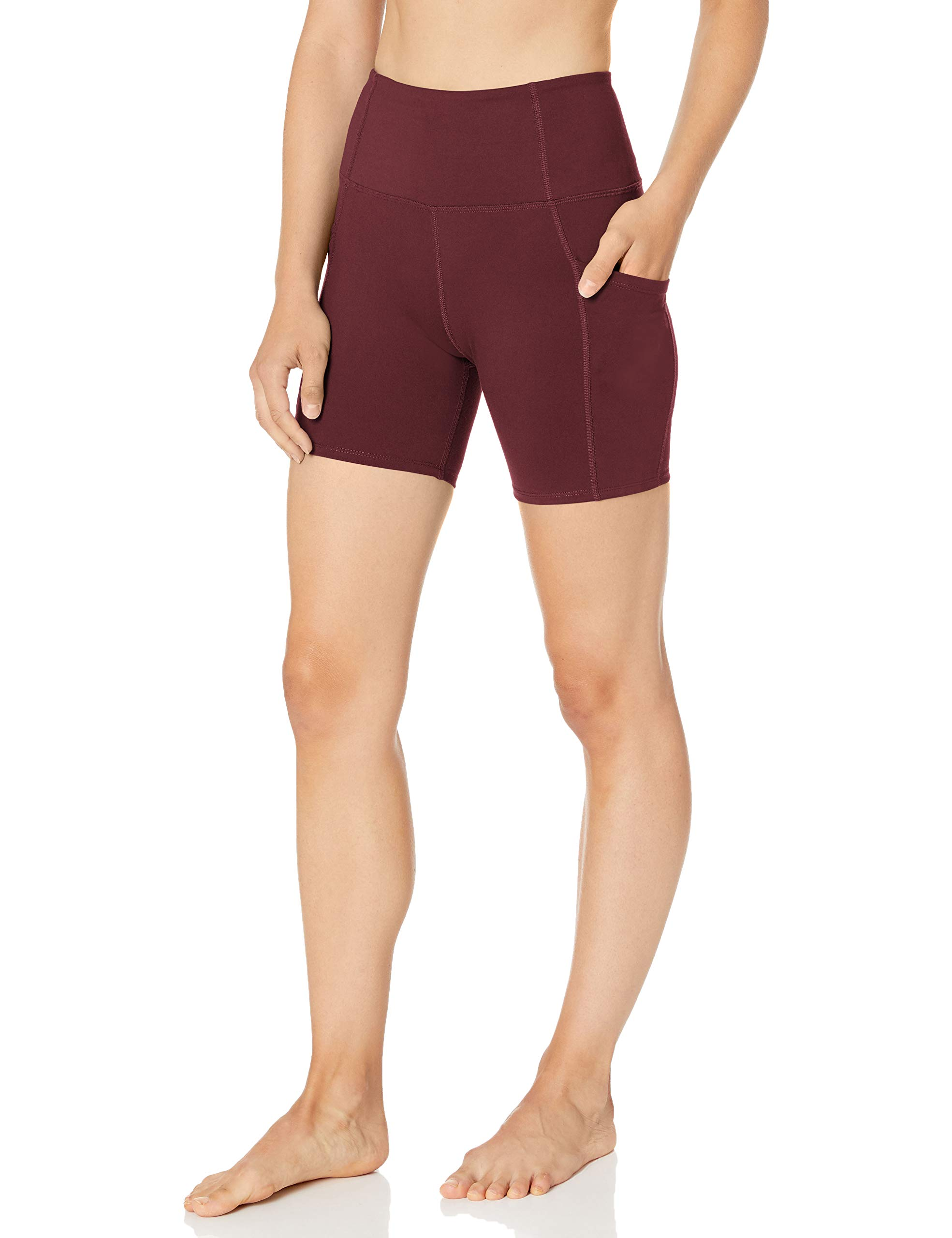 """Amazon Brand - Core 10 Women's (XS-3X) All Day Comfort High Waist Yoga Short with Side Pockets - 5"""""""