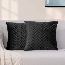 """GREAGLE Set of 2 Decorative Throw Pillow Cover Bedding, Soft Velvet Quilted Cushion Sham Case, Comfortable Couch Cushion Cover, 18""""x18"""" (Solid Black/Z)"""