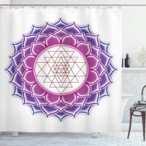 "Ambesonne Lotus Shower Curtain, Geometry Yantra Mandala with Triangle Yoga Illustration, Cloth Fabric Bathroom Decor Set with Hooks, 70"" Long, Fuchsia Purple"