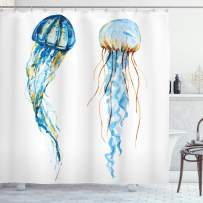 """Ambesonne Jellyfish Shower Curtain, Jellyfish Exotic Sea Ocean Creature Aquatic Animals Watercolor Raster Graphic, Cloth Fabric Bathroom Decor Set with Hooks, 70"""" Long, Blue"""