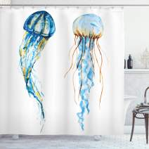 "Ambesonne Jellyfish Shower Curtain, Jellyfish Exotic Sea Ocean Creature Aquatic Animals Watercolor Raster Graphic, Cloth Fabric Bathroom Decor Set with Hooks, 70"" Long, Blue"