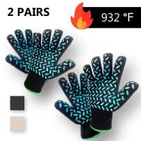 2 PAIRS Heat Resistant Gloves Oven Gloves Heat Resistant Black BBQ Gloves For Grilling BBQ Gloves Heat Resistant Cooking Heat Resistant Gloves Kitchen Heat Gloves High Temp Grill Gloves with Silicone