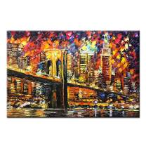 Desihum Abstract Oil Painting for Living Room Hand Painted Artwork NYC Night Pictures on Canvas New York Brooklyn Bridge Wall Art 24×36 inch(60×90cm)