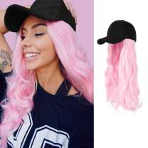 AynnQueen Baseball Cap with Hair Extensions for Women Adjustable Hat with Synthetic Wig Attached 24inch Long Wavy Hair Black Baseball Cap (Light Pink)