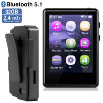 MP3 Player, MP3 Player with Bluetooth, 32GB SD Card Clip MP3 Player with FM Radio/Voice Recorder, Music Player with Touch Full Screen, 2.4Inch MP3 Player for Running, Expandable 128GB TF Card