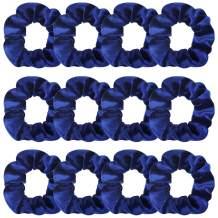 Whavel 12 Pack Navy Blue Hair Scrunchies Velvet Elastics Scrunchy Hair Ties for Women Girls Hair Elastics Ponytail Holder Scrunchy Girl Accessories Elastic Hair Bands
