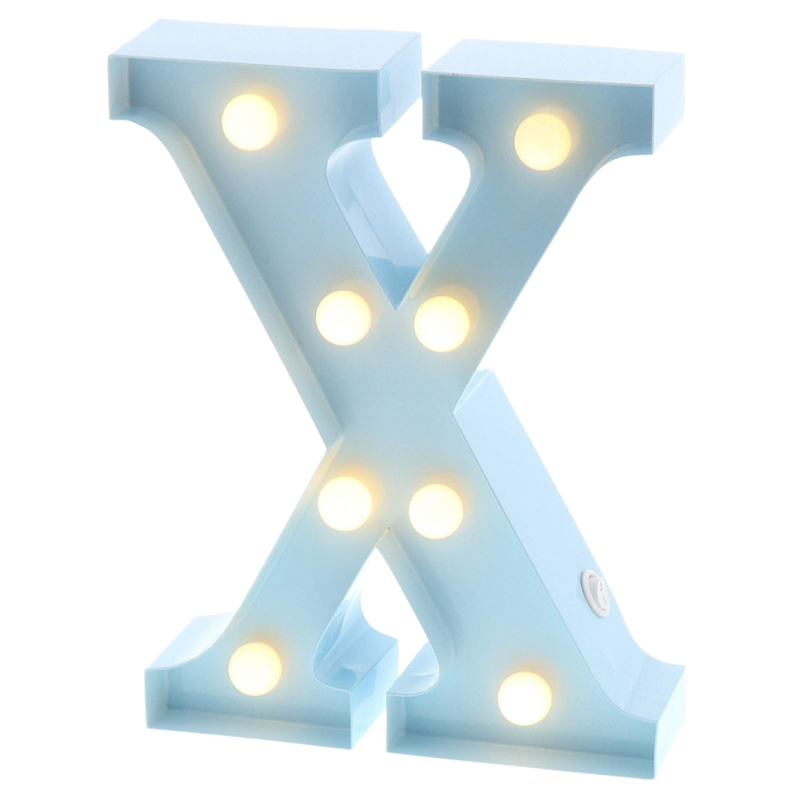"""Barnyard Designs Metal Marquee Letter X Light Up Wall Initial Nursery Letter, Home and Event Decoration 9"""" (Baby Blue)"""