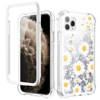 Caka Glitter Case for iPhone 11 Pro Max Glitter Flower Case with Built in Screen Protector Bling Floral Case for Girls Women Girly Protective Case for iPhone 11 Pro Max 6.5 (Daisy)