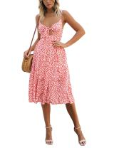 Exlura Womens Dresses Summer Tie Front Spaghetti Strap V-Neck A-Line Backless Button Down Swing Midi Dress