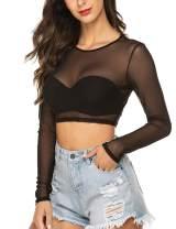 Avidlove Women Mesh Crop Top Long Sleeve See Through Shirt Sheer Blouse S-4XL