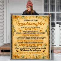 Maylian to My Amazing Granddaughter You are My Sunshine Sunflower Ilove You 3D Custom Fleece Photo Blanket Fan Gift for Daughter Kids Children (X-Large 80 X 60 INCH)