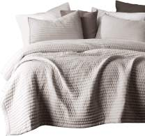 KASENTEX Quilt Mini Set-Stone Washed-Super Soft Bedspread-Light Weight-Hypoallergenic-White Down Alternative Microfiber Fill-Machine Washable-Solid Colors, 2 King Shams, Camel