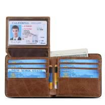 BOSTANTEN Genuine Leather Wallets for Men Bifold RFID Blocking Wallet with 2 ID Window