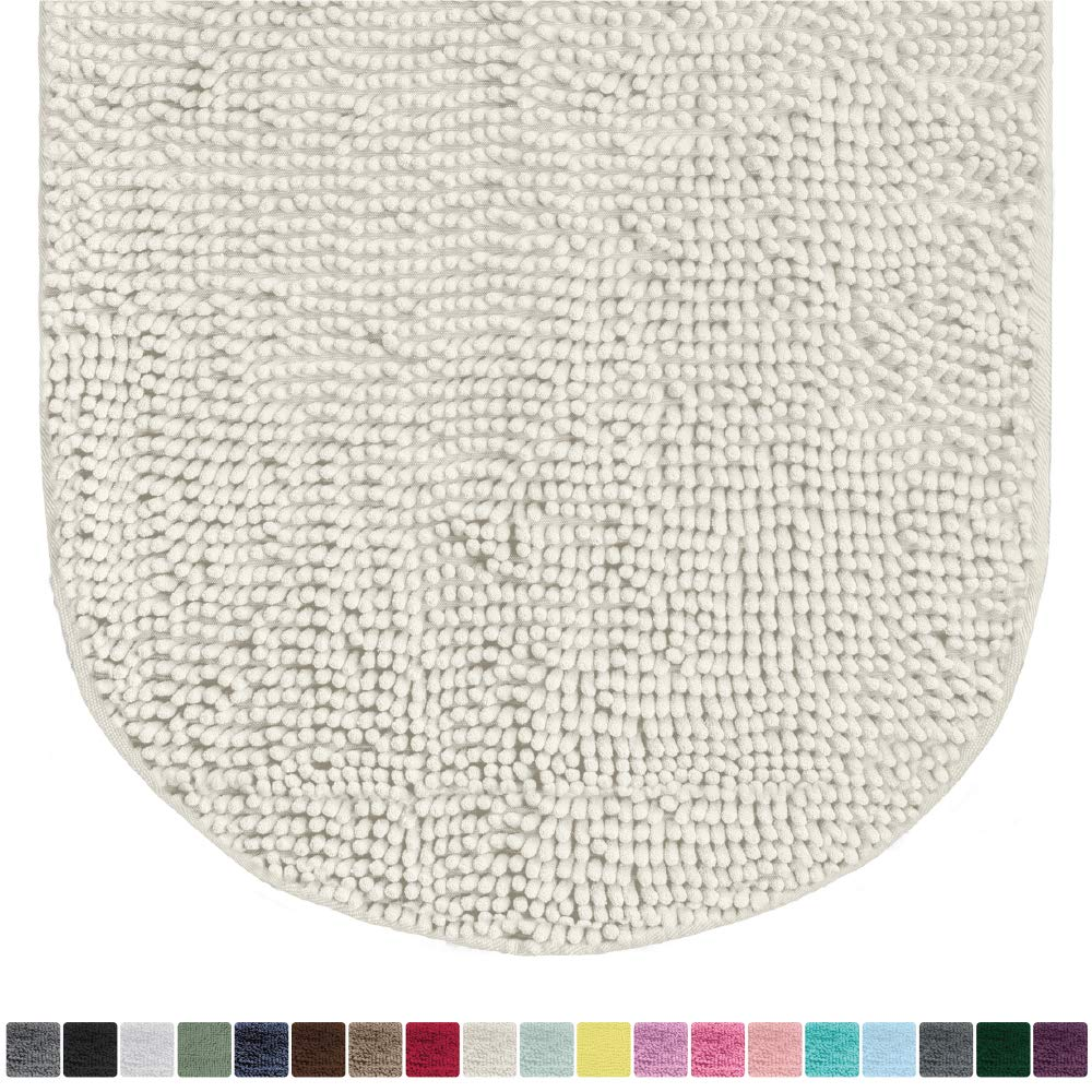 Gorilla Grip Original Luxury Chenille Oval Bath Rug Mat, 42x24, Extra Soft and Absorbent Large Shaggy Bathroom Rugs, Machine Wash Dry, Plush Carpet Mats for Tub, Shower, and Bath Room, Ivory Cream