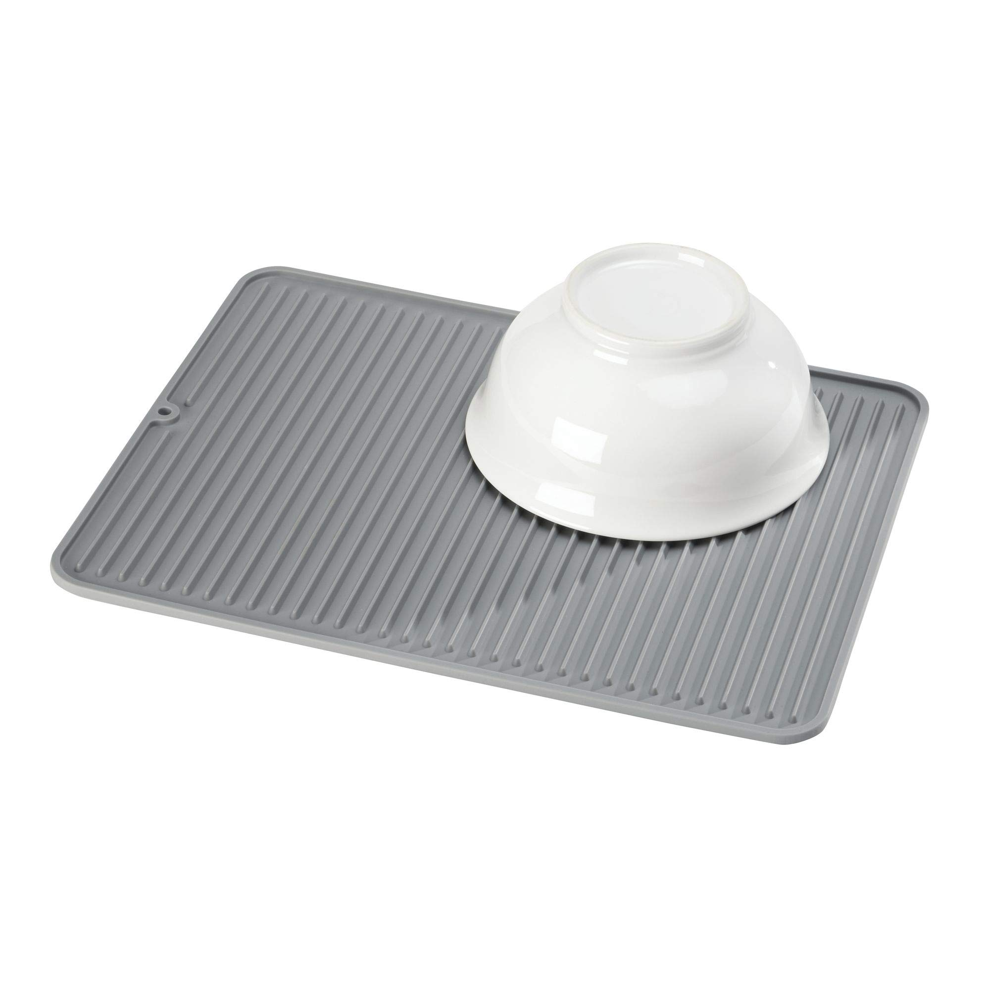 InterDesign, Gray Lineo Kitchen Countertop Silicone Sink Drying Mat-Large