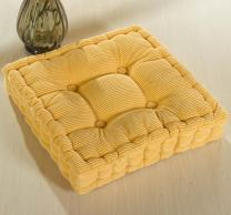 ChezMax Soft Corduroy Cotton EPE Cotton Filled Chair Cushion Thickened Tatami Solid Color Pad for Home Office Dinning Chair Indoor Outdoor Seat Chair Pad Yellow 18 X 18 inch