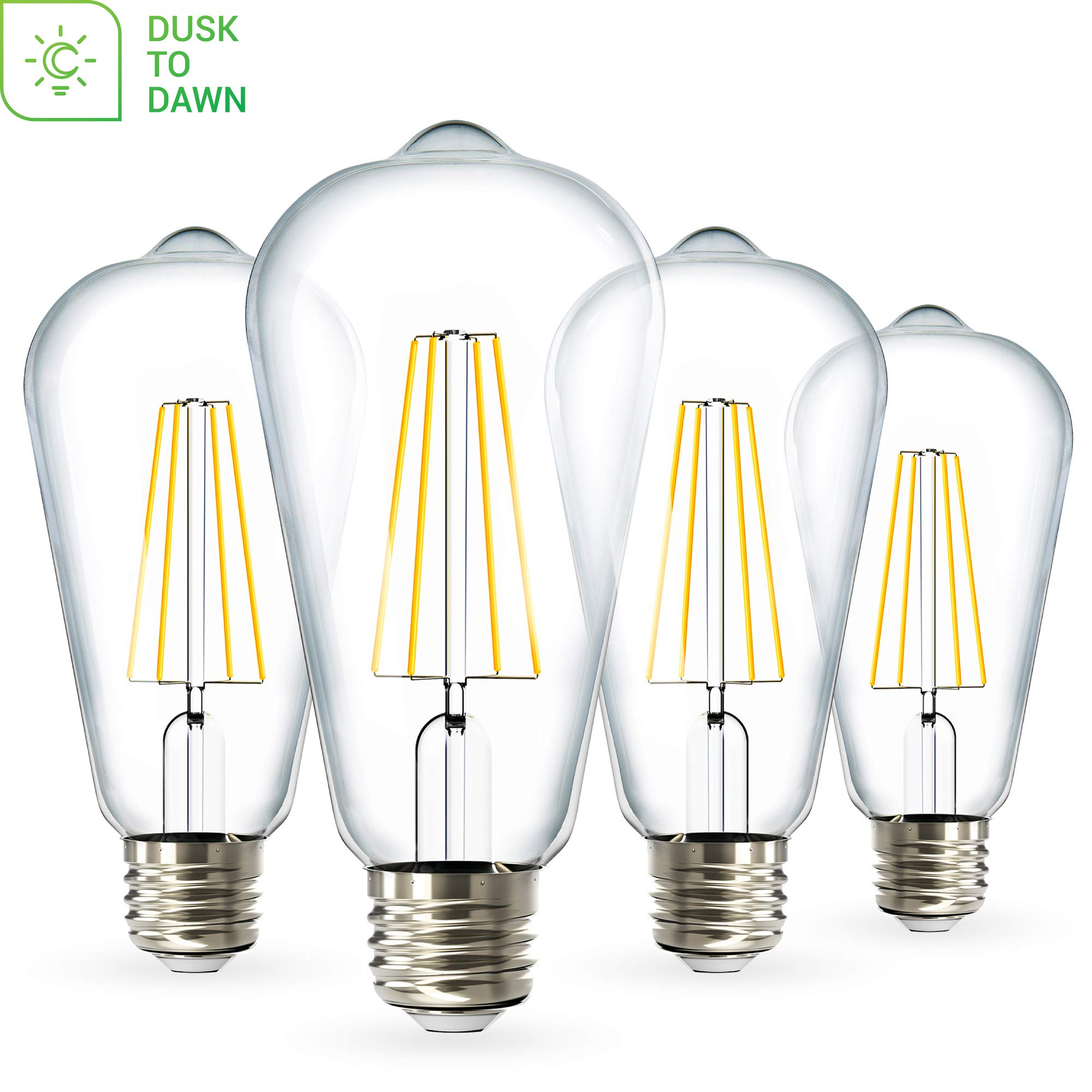 Sunco Lighting 4 Pack ST64 LED Bulb, Dusk-to-Dawn, 7W=60W, 5000K Daylight, Vintage Edison Filament Bulb, 800 LM, E26 Base, Outdoor Decorative String Light - UL, Energy Star