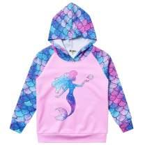 Jxstar Hoodie for Girls Kids Sweatshirts Raglan Sleeve Shirts Unicorn Mermaid Outfits