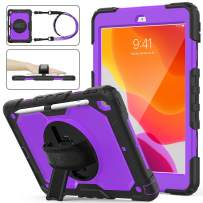 SEYMAC stock iPad 7th Generation Case, Three Layer Hybrid Drop Protection Case with [360 Rotating Stand] Hand Strap &[Stylus Pencil Holder] for 2019 New iPad 7 Generation 10.2 Inch (Purple+Black)