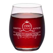 1990 30th Wine Glass, Vintage Stemless Wine Glass for Women Men Dad Mom Husband Wife Friends Coworker Sister, 15Oz