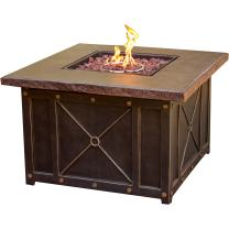 "Cambridge CLASSIC1PCFP Square Gas Fire Pit with Durastone Top, 40"" Outdoor Furniture"
