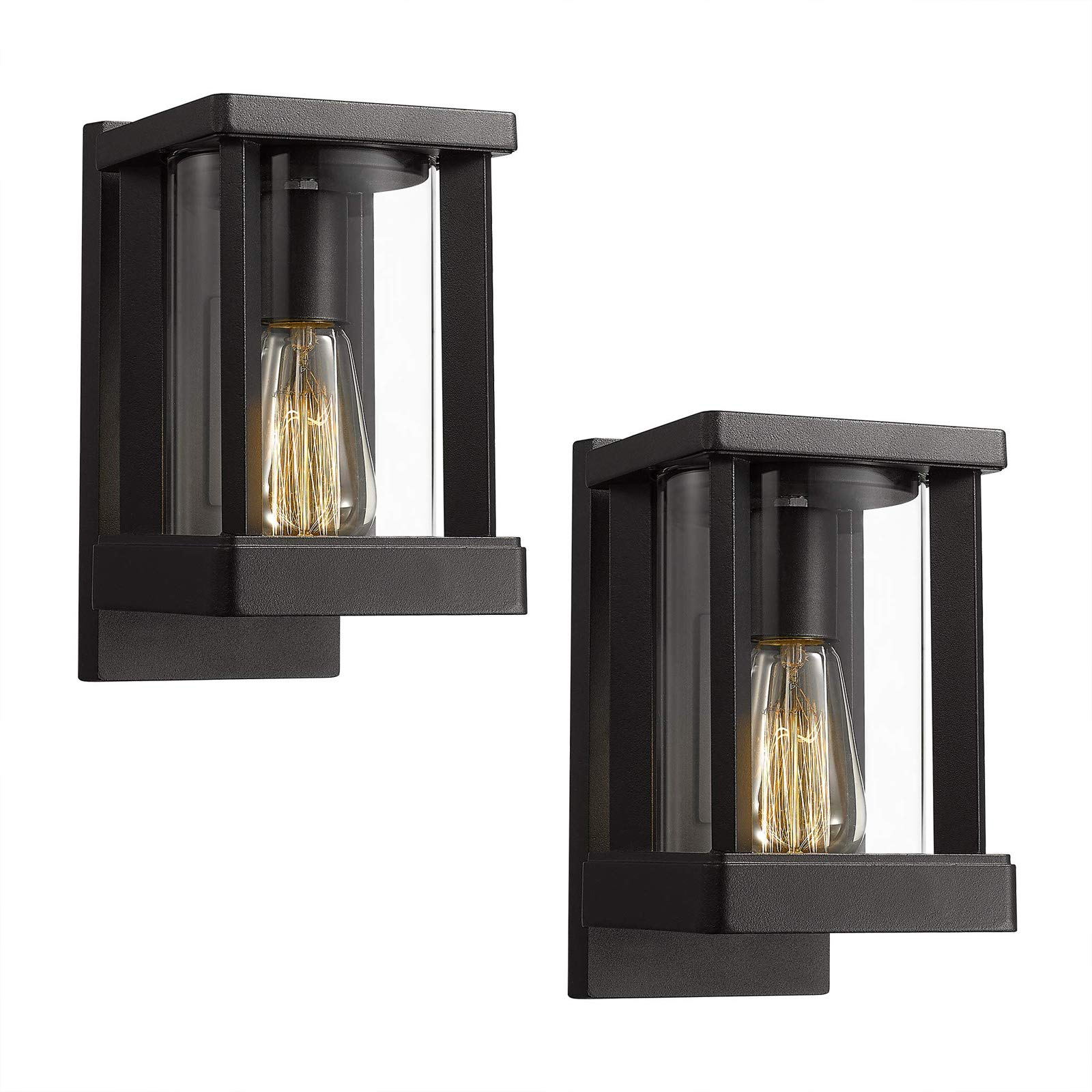 Zeyu 2 Pack Outdoor Wall Sconces, Outside Wall Lights for House, Black Finish with Clear Glass, 0371-WD-2PK BK-R