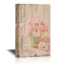 wall26 - Canvas Wall Art - Pink Ranunculus Flowers and Letters on Vintage Style Wood Background - Gallery Wrap Modern Home Decor | Ready to Hang - 32x48 inches