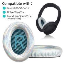 Krone Kalpasmos Replacement Ear Pads for Bose QC35 ii QC25 QC2 QC15 Ae2 Ae2i Ae2w SoundTrue & SoundLink(Over-Ear) Ear Cushion Shining White