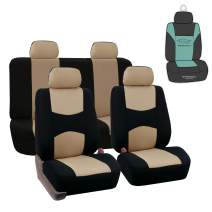 FH Group FB050115 Flat Cloth Seat Covers (Beige) Full Set with Gift – Universal Fit for Cars Trucks & SUVs