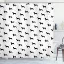 "Ambesonne Dog Lover Shower Curtain, Monochrome Dachshund Silhouettes Breed Dog Domestic Canine Pattern Active Pet, Cloth Fabric Bathroom Decor Set with Hooks, 70"" Long, Charcoal White"