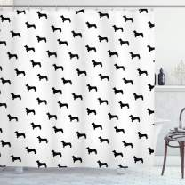 """Ambesonne Dog Lover Shower Curtain, Monochrome Dachshund Silhouettes Breed Dog Domestic Canine Pattern Active Pet, Cloth Fabric Bathroom Decor Set with Hooks, 70"""" Long, Charcoal White"""