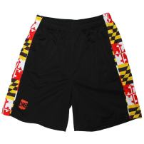 Route One Apparel | Black Maryland Flag Men's Running Shorts