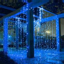 LIIDA Curtain Fairy String Lights, LED Window Twinkle Lights 9.8 x 9.8ft Icicle Lights with 8 Modes for Holiday Party Background Wall Wedding Decorations (Blue)