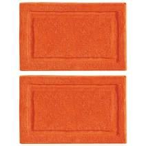 "mDesign Soft Microfiber Polyester Non-Slip Rectangular Spa Mat, Plush Water Absorbent Accent Rug for Bathroom Vanity, Bathtub/Shower - Machine Washable, 2 Pack - 34"" x 21"" - Orange"