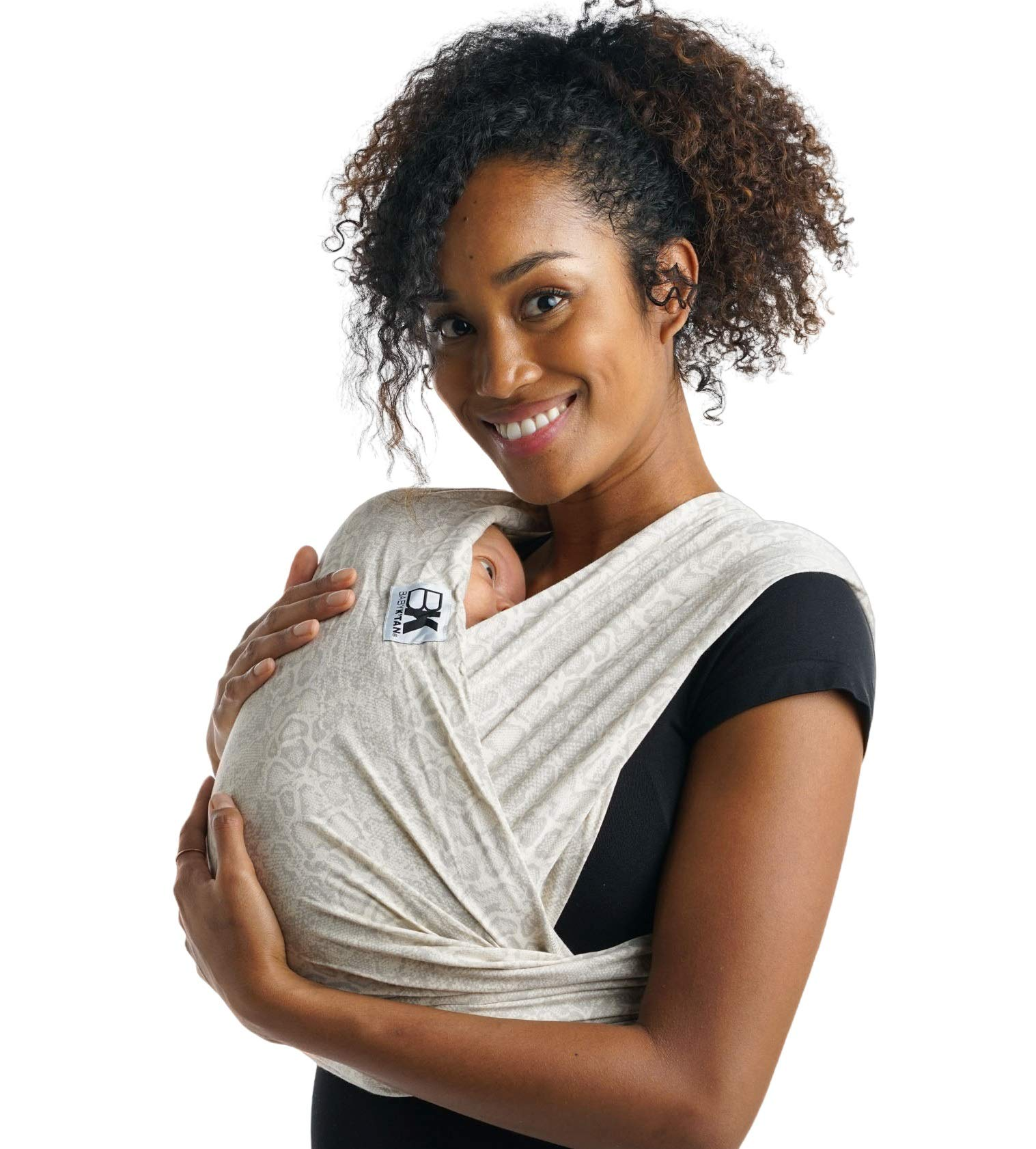 Baby K'tan Print Baby Wrap Carrier, Infant and Child Sling - Simple Wrap Holder for Babywearing - No Rings or Buckles - Carry Newborn up to 35 lbs, Savvy Snake, L (W Dress 16-20 / M Jacket 43-46)