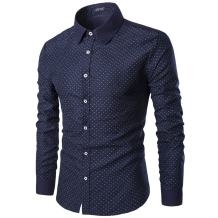 AOWOFS Men's Dress Shirt Polka Dot Button Casual Cotton Slim Fit Long Sleeve