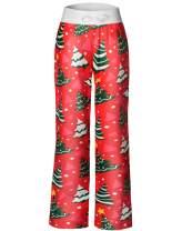 Anyou Women's Pajama Pants Comfy Stretch Floral Print Drawstring Wide Leg Lounge Pants Size S-XXL