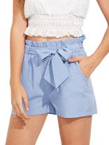 Romwe Women's Casual Elastic Waist Bowknot Summer Shorts with Pockets
