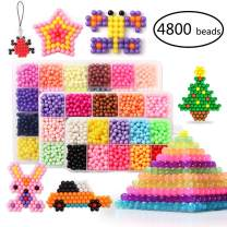 KACAGA Water Fuse Beads Set 24 Colors 4800 Beads 5mm Refill Compatible Beados Magic Water Sticky Beads Art Crafts Toys for Kids Beginners (4800 Beads Complete Set)