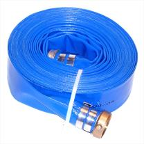"JGB Enterprises Eagle Hose Eagleflo Eagle PVC Discharge Hose Assembly, Blue, 3"" Male X Female Water Shanks , 70 PSI Maximum Pressure, 3"" Hose ID, 50' Length"